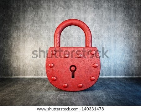 red lock isolated on a concrete background