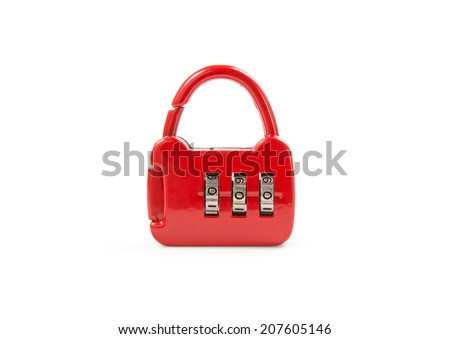 Red lock with code for unlock isolated on white background. include clipping path. - stock photo