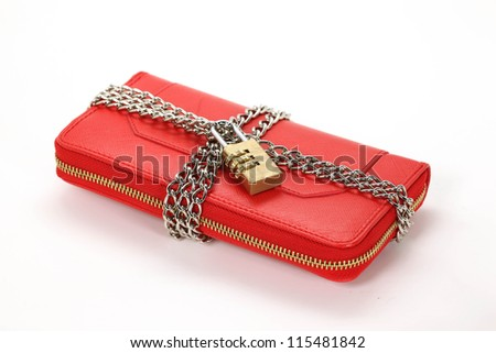 red locked wallet on the white background - stock photo