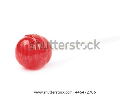 Red lollipop candy on a stick isolated over the white background