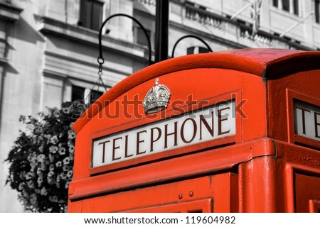 Red London Telephone box, in the City of Westminster, London, England, Great Britain - stock photo