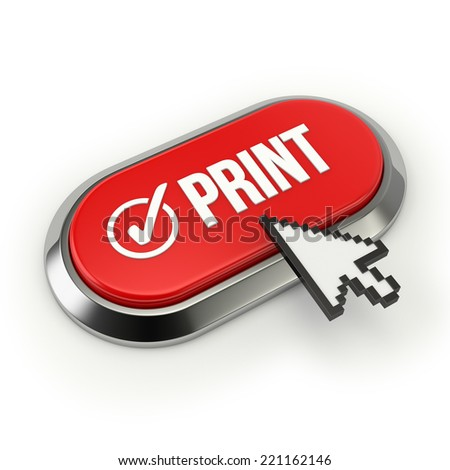 Red Long Print Button With Chrome Border On White Background