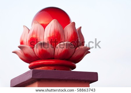 red lotus ornament on Mersing temple entrance, Malaysia - stock photo