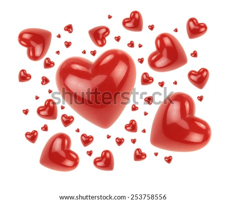 Red love hearts isolated on white background. - stock photo