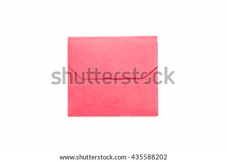 Red love letter isolated on white background.