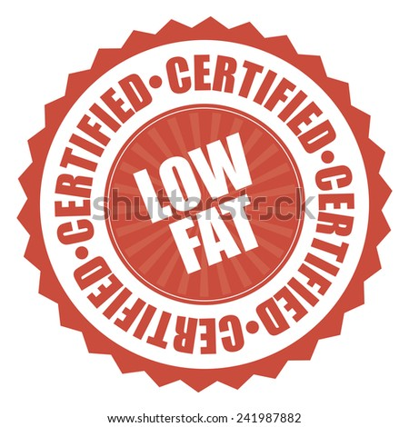 Red low fat certified icon, tag, label, badge, sign, sticker isolated on white  - stock photo