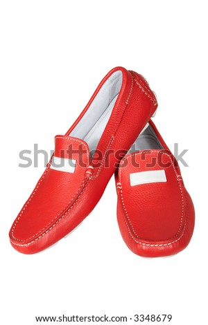 Red low shoes on a white background - stock photo