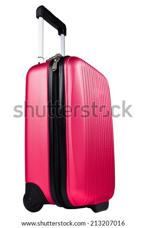 Red luggage, suitcase isolated on white  - stock photo