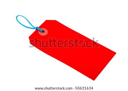 Red Luggage Tag on Isolated White Background - stock photo