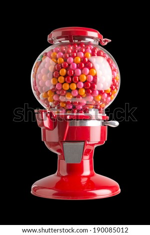 Red machine bubble gum background black - stock photo