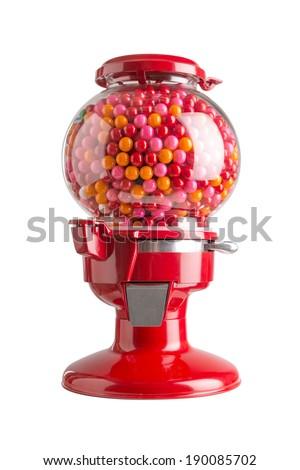 Red machine gum background white - stock photo