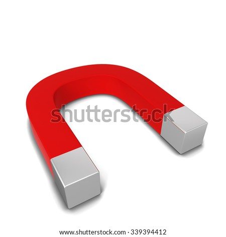 Red magnet. 3d illustration isolated on white background  - stock photo