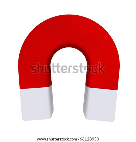 red magnet symbol on white background with shadow - stock photo