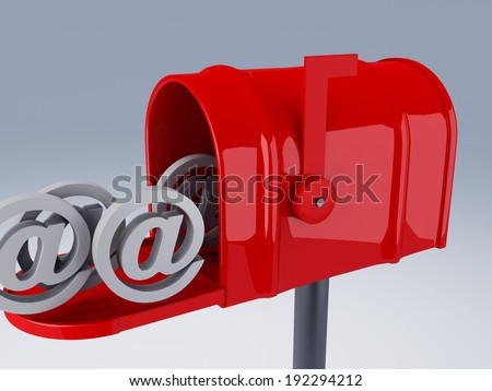 red mail box with heap of at symbols. 3D illustration - stock photo