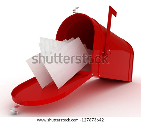 Red mail box with heap of letters. 3D illustration isolated on white - stock photo