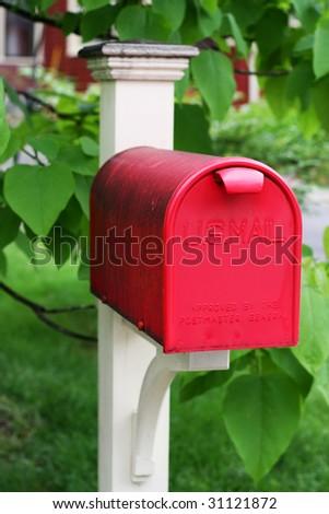 red mailbox - stock photo