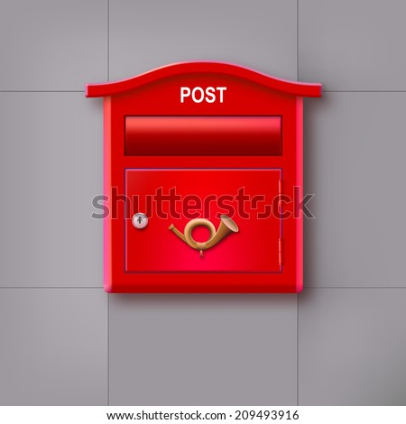 Red mailbox hanging on the wall with the  postal horn. - stock photo