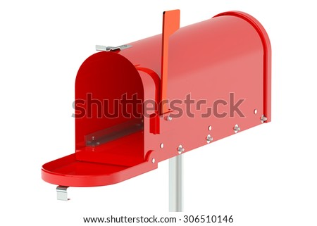 Red Mailbox isolated on white background
