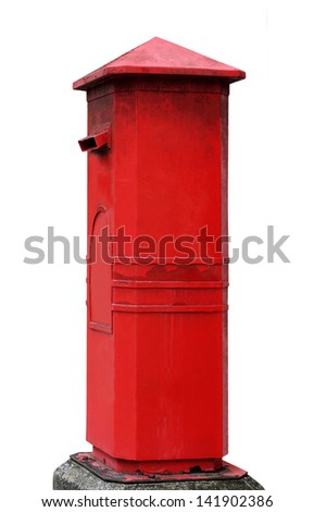 Red mailbox isolated on white surface