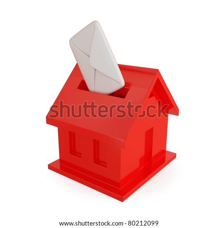 Red mailbox shape of house and white blank cover. 3d rendered. Isolated on white background. - stock photo