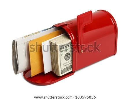 Red Mailbox with Letters and Money Isolated on White Background. - stock photo