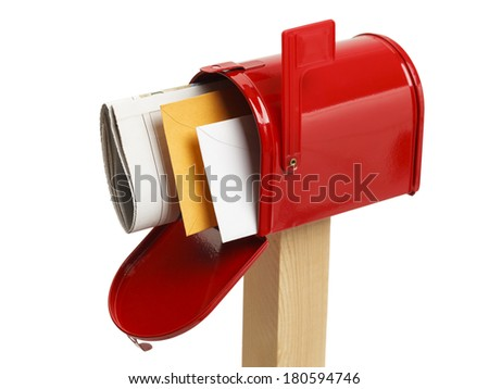 Red Mailbox with Mail Upper View Isolated on White Background. - stock photo
