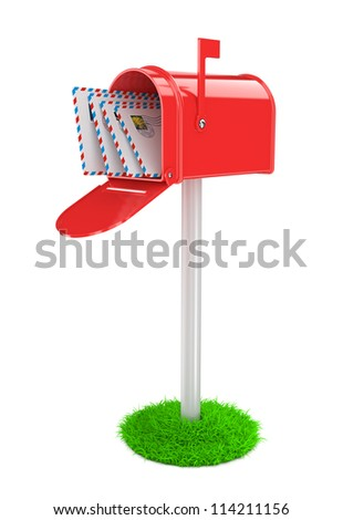 Red Mailbox with Mails. Red Mail Box on White Column and Green Grass. - stock photo