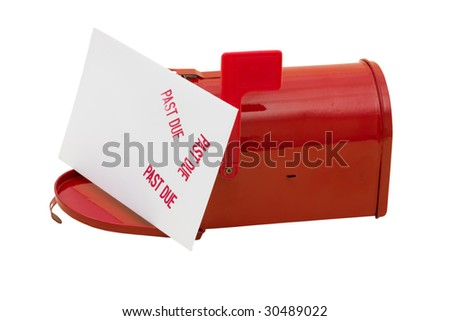 Red mailbox with past due bill and the flag up sitting on a white background, mailbox