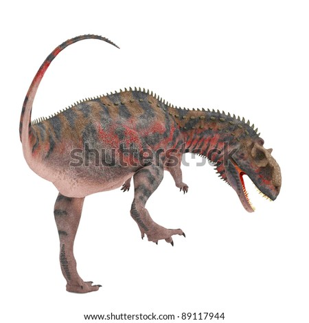 red majungasaurus looking down for food - stock photo
