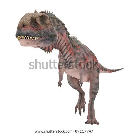 red majungasaurus walking - stock photo