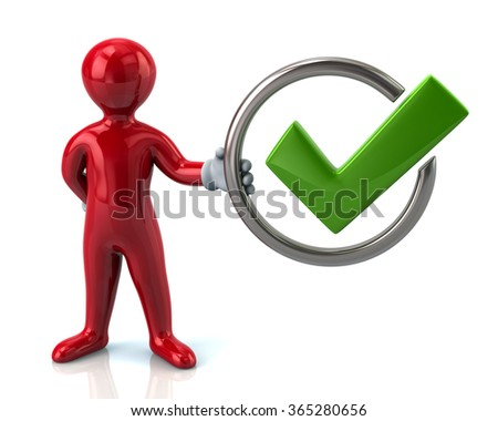 Red man character holding tick sign isolated on white background