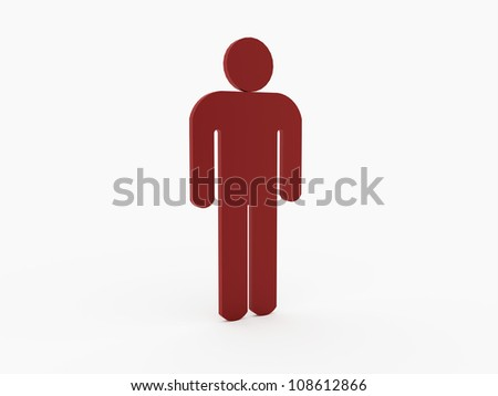 Red man figure isolated on white background - stock photo