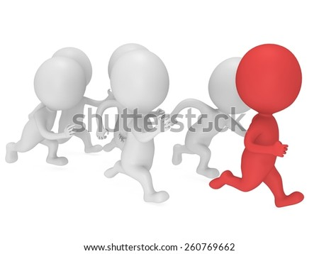 Red man lead the way. 3D render isolated on white. Chase, fitness, sport concept.