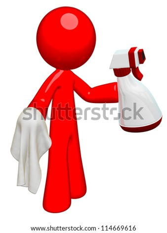 Red man professional cleaner with spray and cloth, ready to clean house, office, or anything! - stock photo
