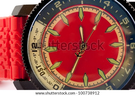 red man's watch on white background - stock photo