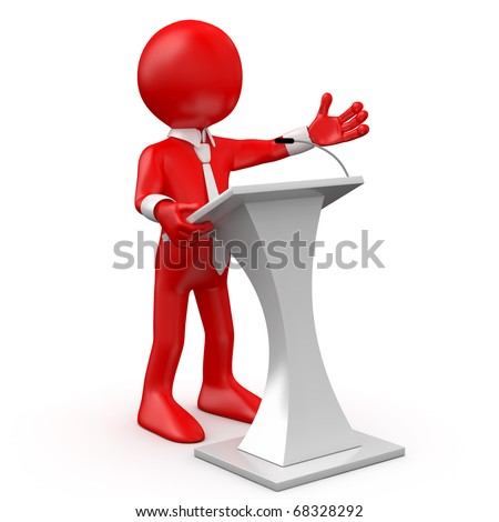 Red man speaking at a conference - stock photo
