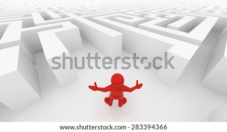 Red man standing in white maze, complex way to find exit, business concept. - stock photo