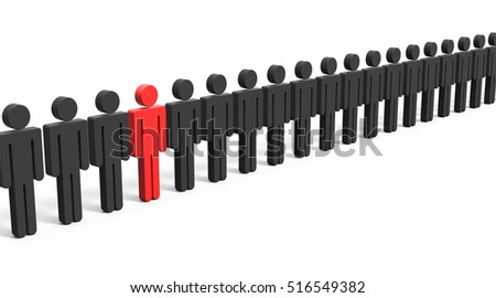 red man symbol in a rather long line of those black ones, 3d illustration white background