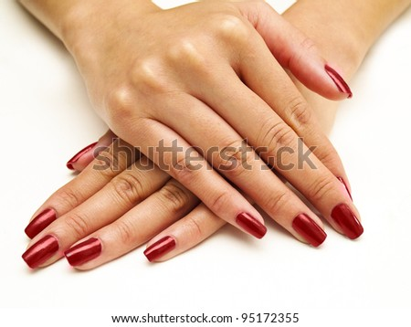 red manicure - stock photo