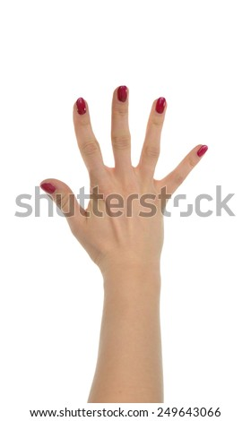 Red manicured female open hand gesture number five fingers up isolated on a white background - stock photo