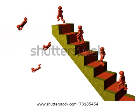 Red mans on the stairs, white background.
