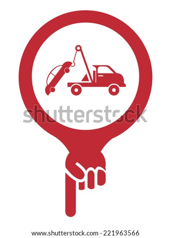 Red Map Pointer Icon With Tow Car Service Sign Isolated on White Background  - stock photo