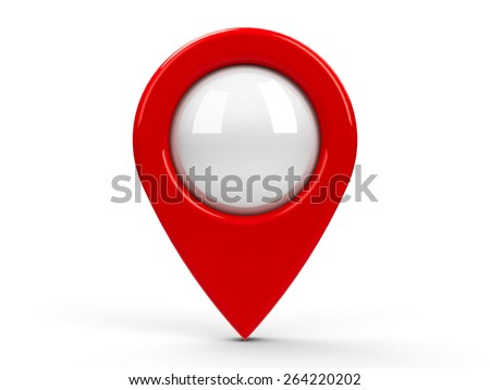 Red map pointer with blank center isolated on white background, three-dimensional rendering - stock photo