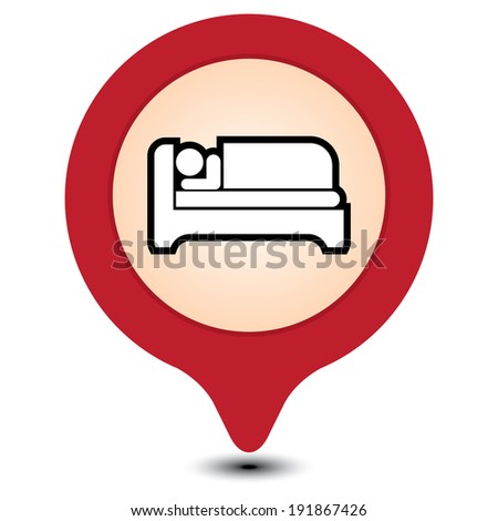 Red Map Pointer With Hotel, Motel, Guesthouse, Accommodation or Bed Icon Isolated on White Background - stock photo