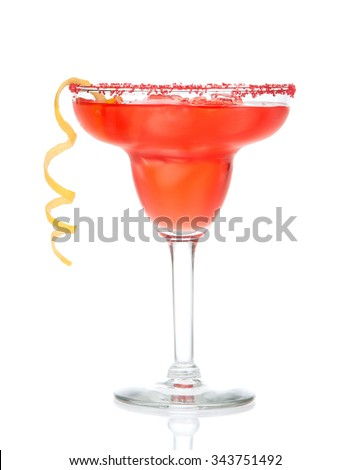 Red margarita cocktail in chilled salt rimmed glass with tequila orange syrup lemon spiral crushed ice in cocktails glass isolated on white background - stock photo