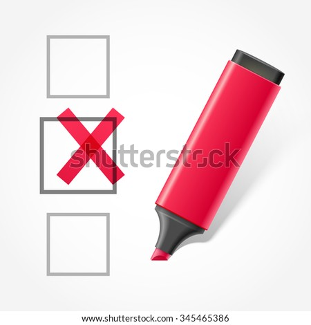 Red marker and check box - stock photo