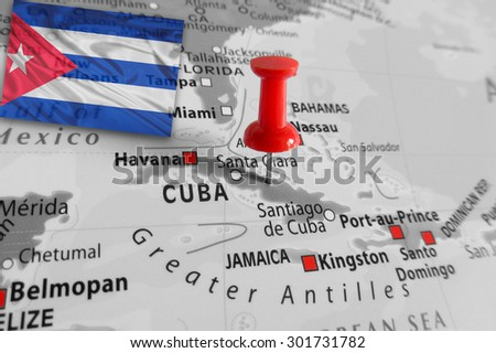 Red marker over Cuba island