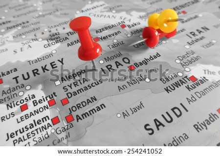 Red marker over Iraq - stock photo