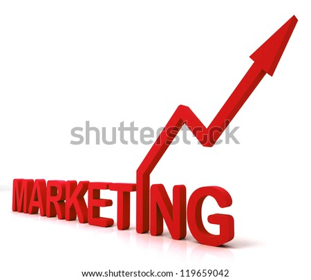 Red Marketing Word Meaning Promotion Sales And Advertising - stock photo