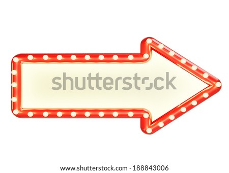 red marque arrow sign with blank space and light bulbs, isolated on white background - stock photo